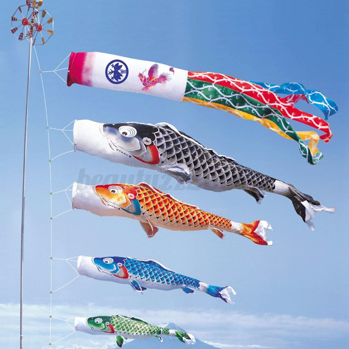 100cm 5 colors koi nobori carp wind sock koinobori fish for Koi fish kite