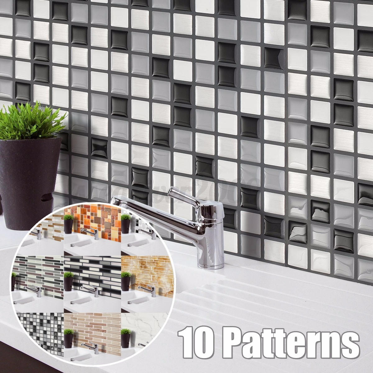 Image Is Loading 3d Mosaic Tile Modern Wallpaper Foil Sticker Bathroom