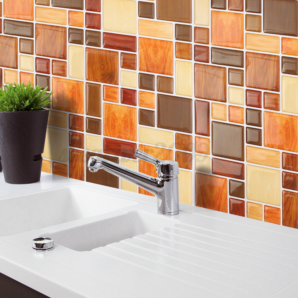 3d mosaic tile modern wallpaper foil sticker bathroom for Kitchen wallpaper 3d