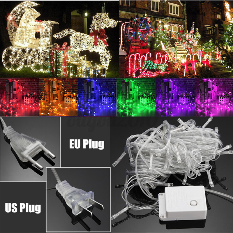 10m 100 led lichterkette weihnachtslichterkette au en innen party leuchte ip65 ebay. Black Bedroom Furniture Sets. Home Design Ideas