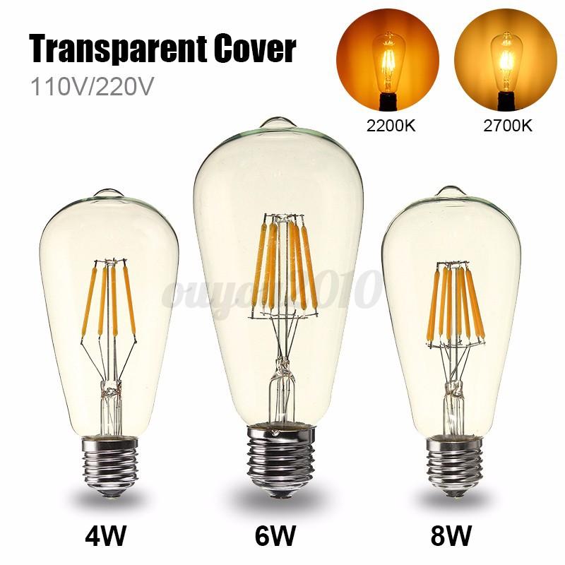 e27 edison lampe gl hbirne led filament vintage retro 4 6. Black Bedroom Furniture Sets. Home Design Ideas