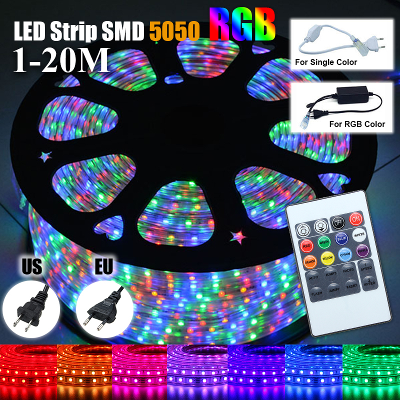 1 20m waterproof 5050 smd rgb 60 leds m flexible tape rope strip light 220v ebay. Black Bedroom Furniture Sets. Home Design Ideas