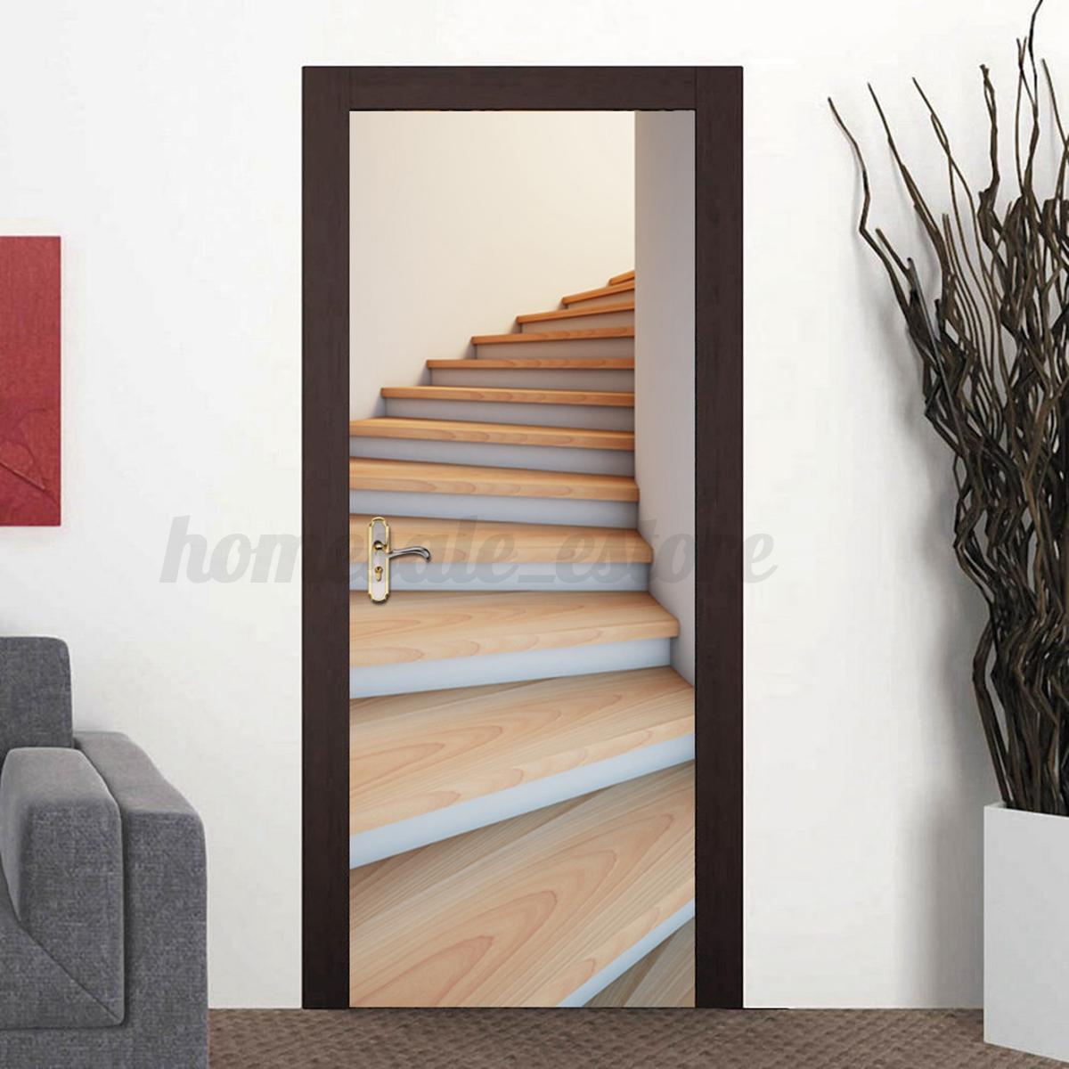 3d pvc self adhesive door wall sticker living room forest. Black Bedroom Furniture Sets. Home Design Ideas