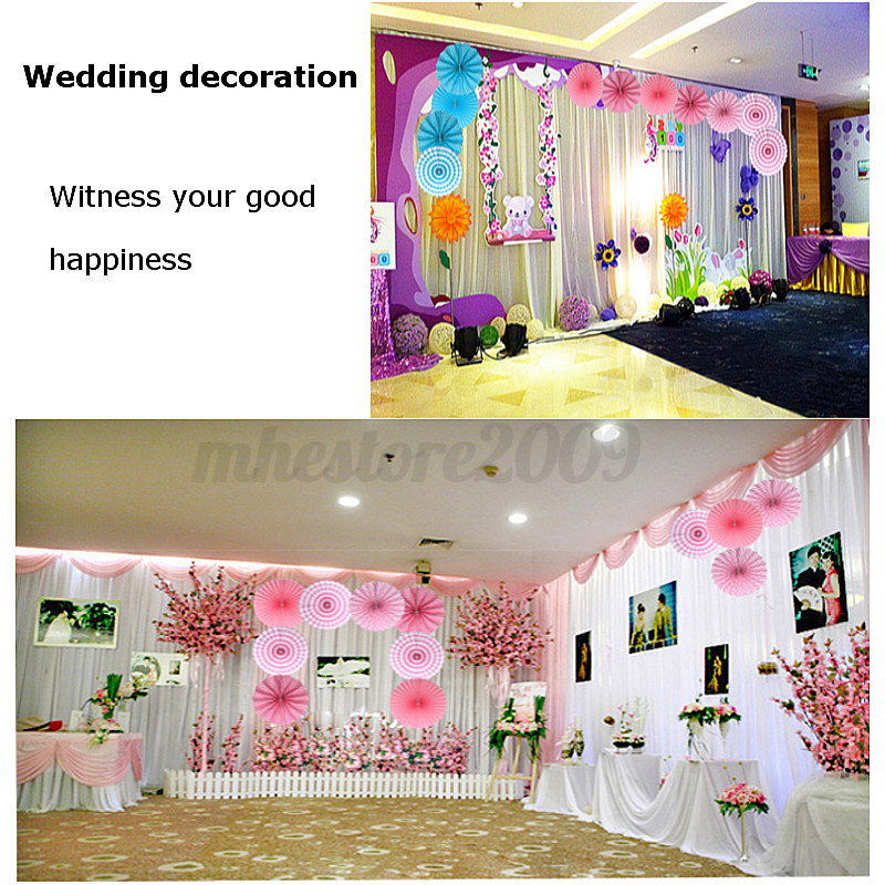 6pc Hanging Tissue Paper Fan Flower Wedding Birthday Party