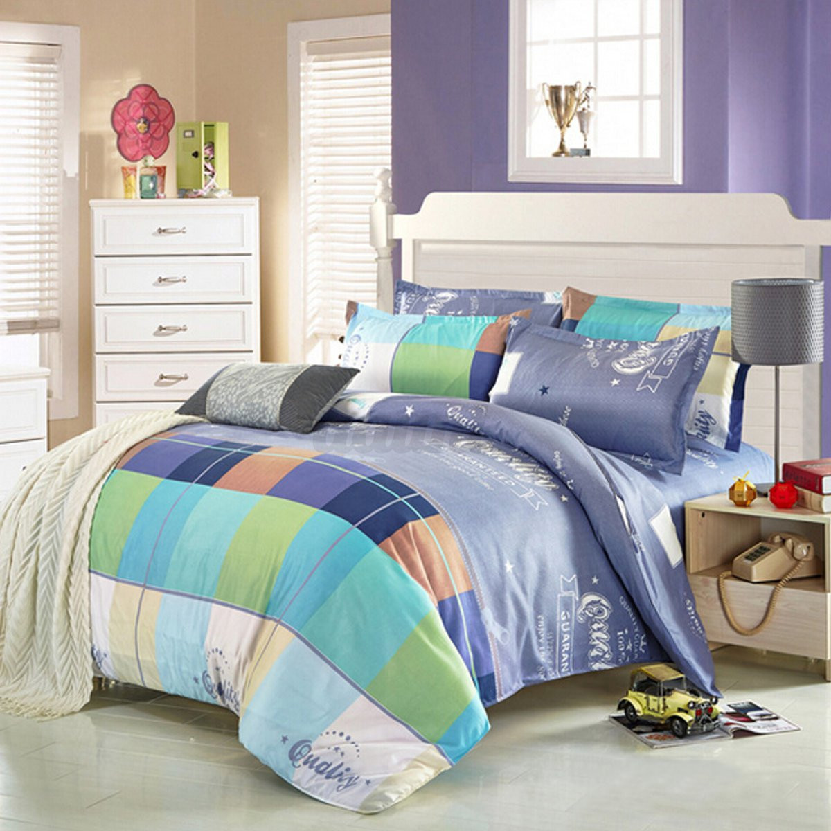 Single double queen king size printing style bedding for Lit queen size taille
