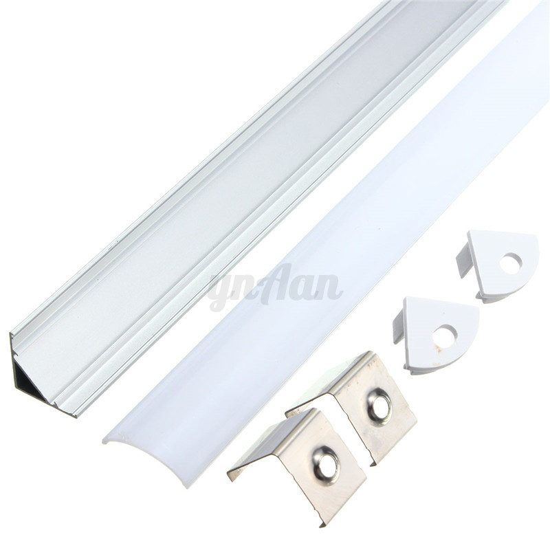 50cm-Aluminum-Case-Shell-amp-Milk-Cover-End-Up-for-Rigid-LED-Strip-U-V-YW-Style