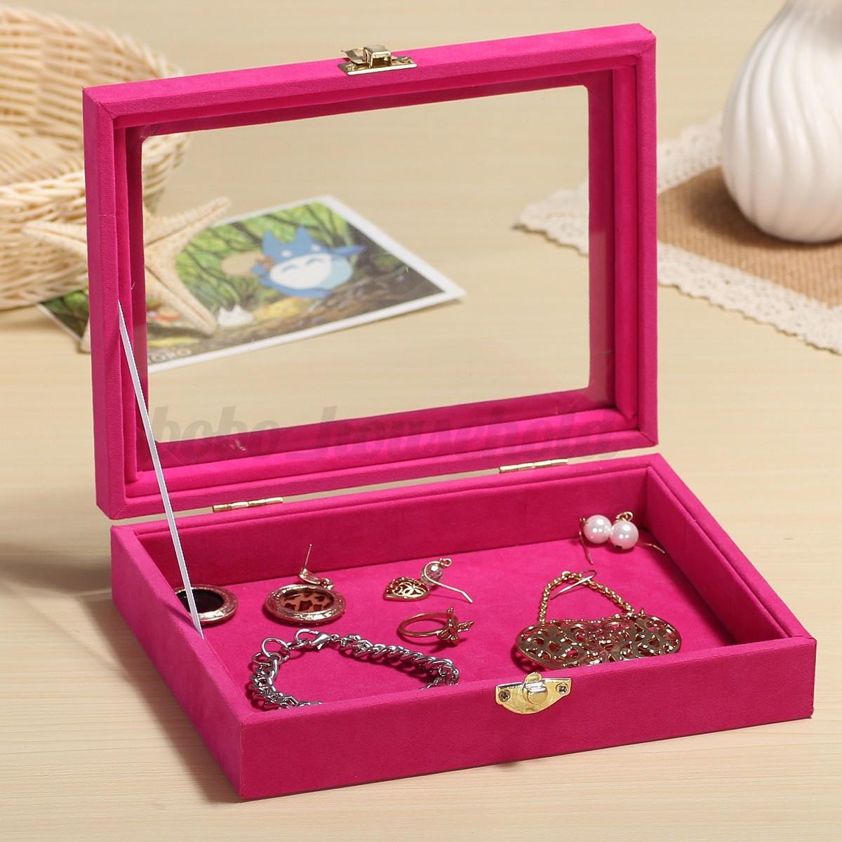 New velvet ring jewelry display organizer case tray holder for Velvet jewelry organizer trays