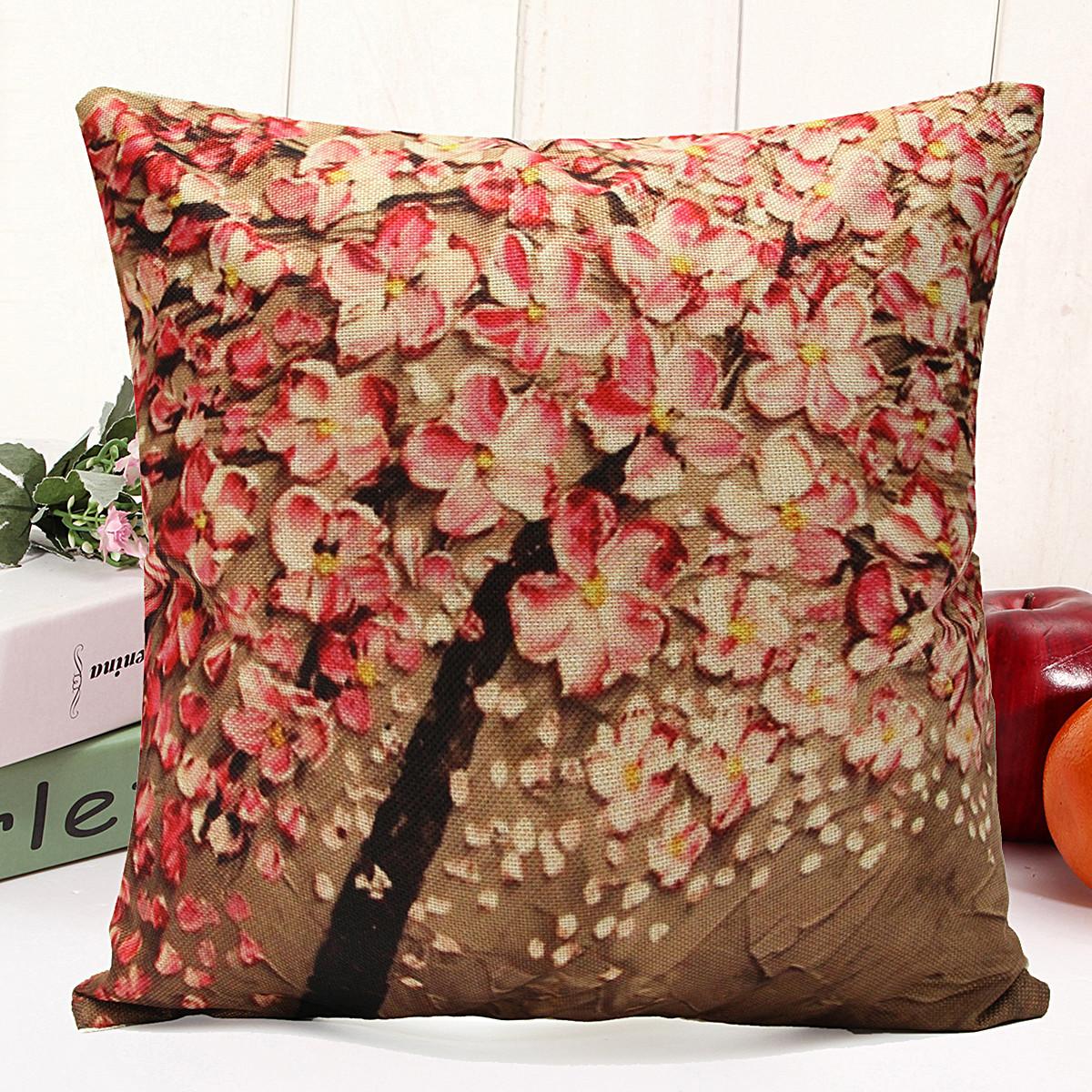 3d peinture l 39 huile fleurs lin coton taie oreiller. Black Bedroom Furniture Sets. Home Design Ideas