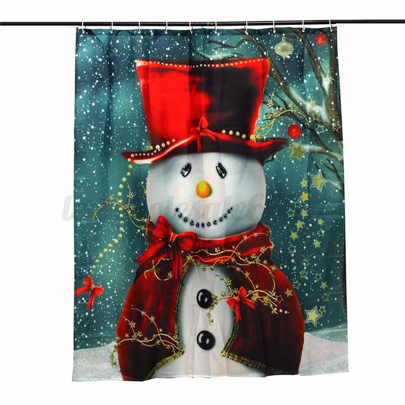 Frohe Weihnachten Winter Sleepy Schneemann Badezimmer Duschvorhang ...