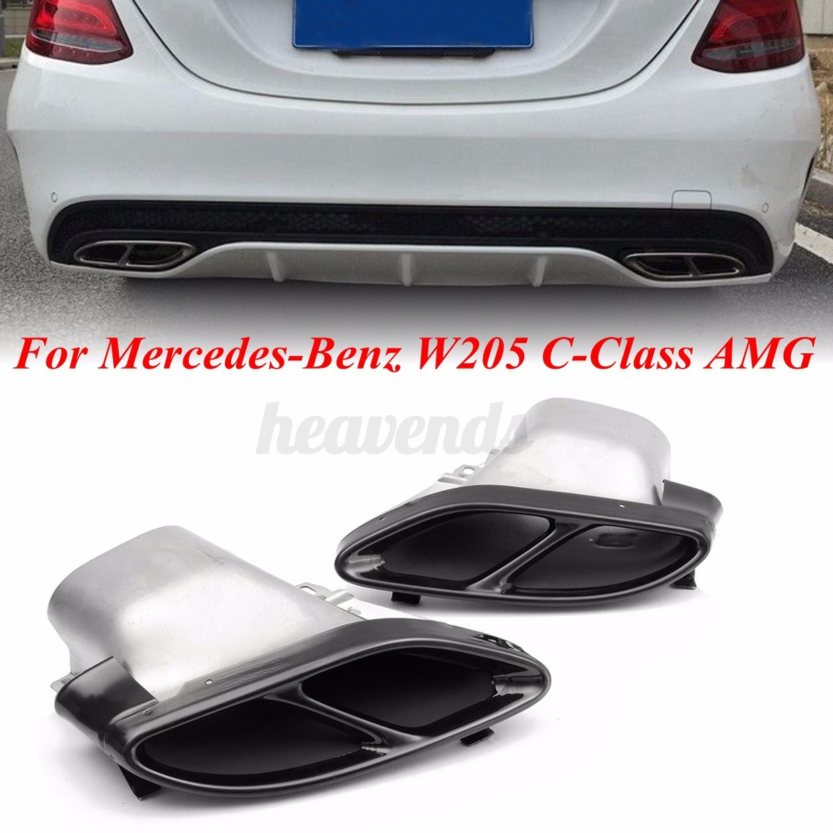 Pair exhaust muffler pipe tips for mercedes benz w205 c for Mercedes benz c300 exhaust