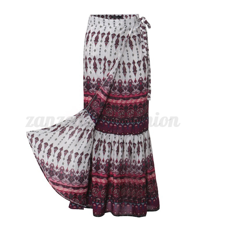 ZANZEA Women Split Beach Print Floral Party Boho Ethnic Plus Long Maxi Skirt