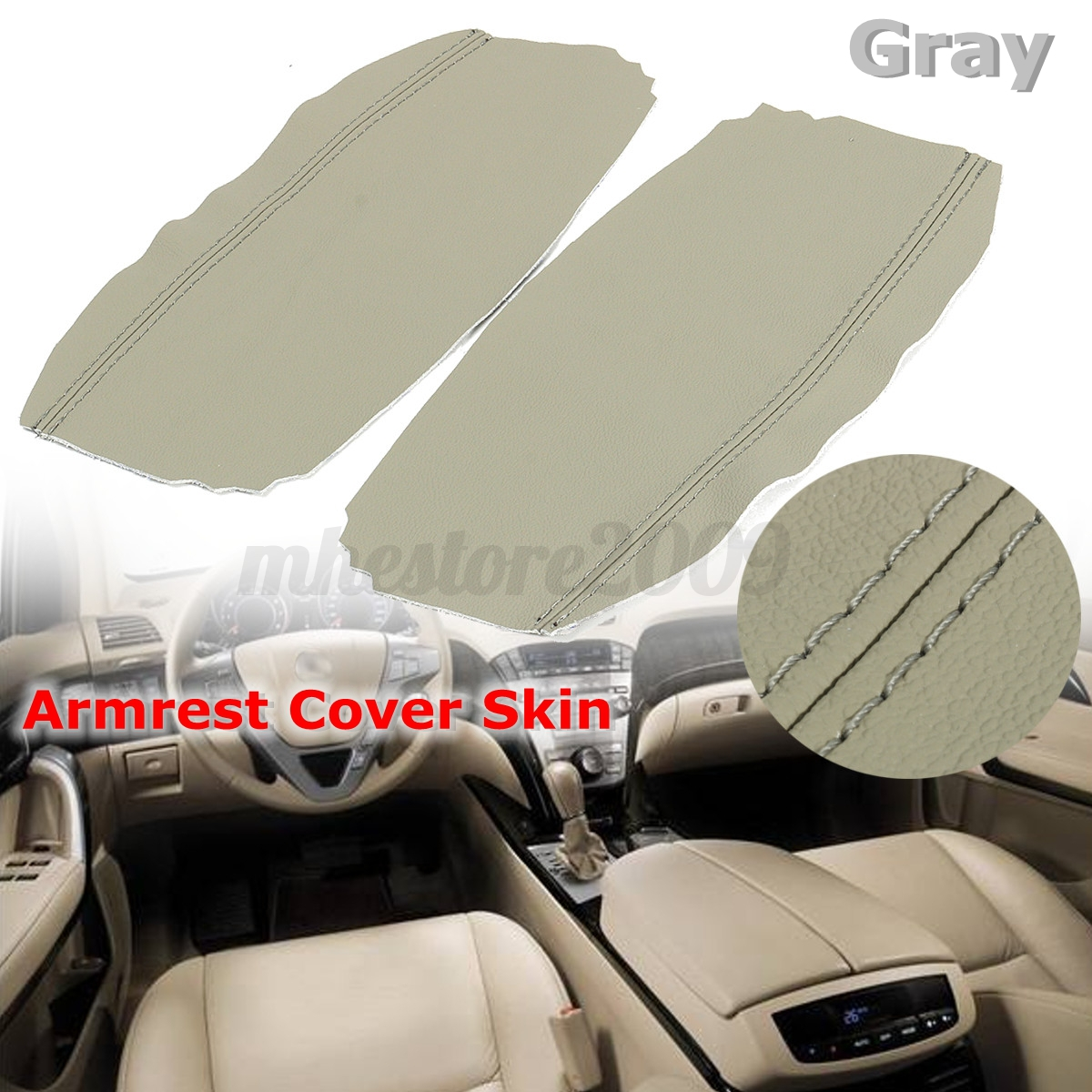 Gray PU Leather Armrest Center Console Covers Lid Skin For