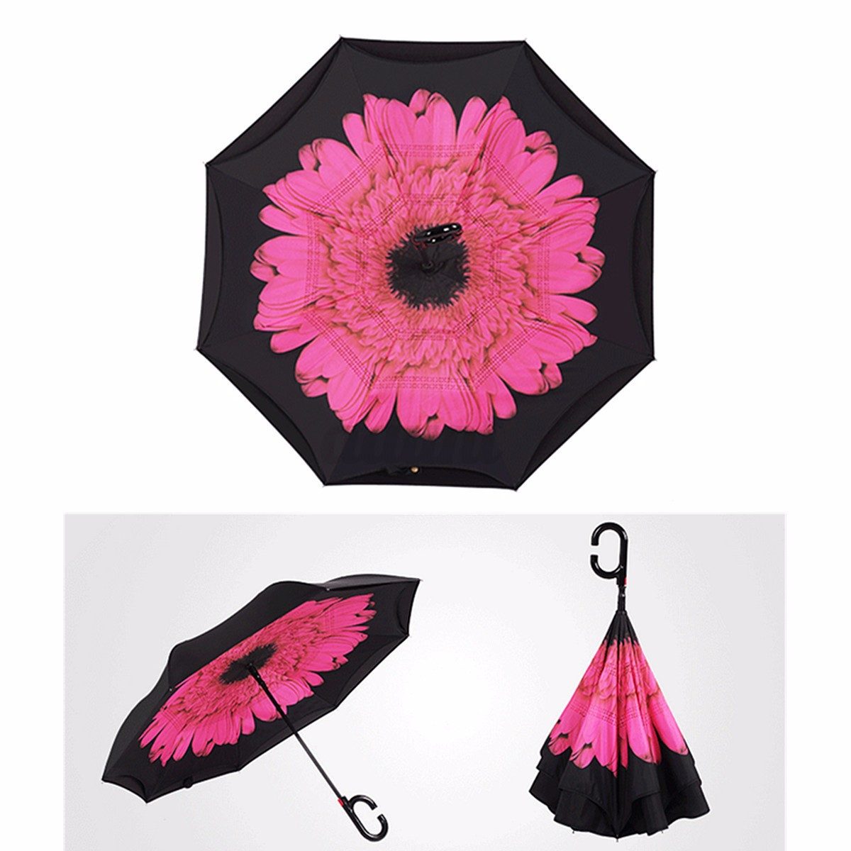Double Layer Windproof Upside Down Reverse Umbrella Inside