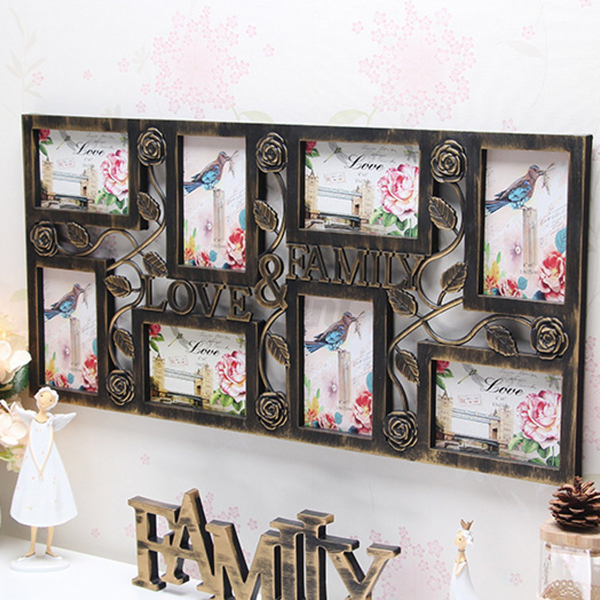 Plastic Collage Hanging Photo Frame Love Family Picture