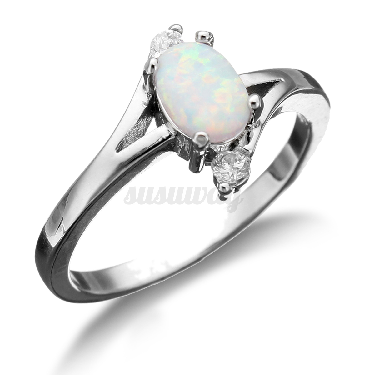 white oval opal sterling silver plated wedding