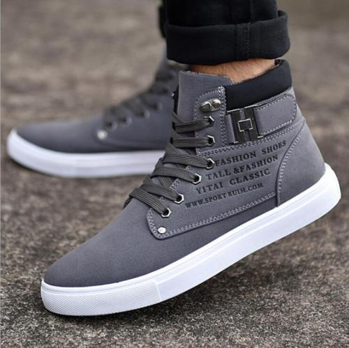 Fashion-Mens-Oxfords-Casual-High-Top-Shoes-Leather-Shoes-Canvas-Sneakers-New thumbnail 6