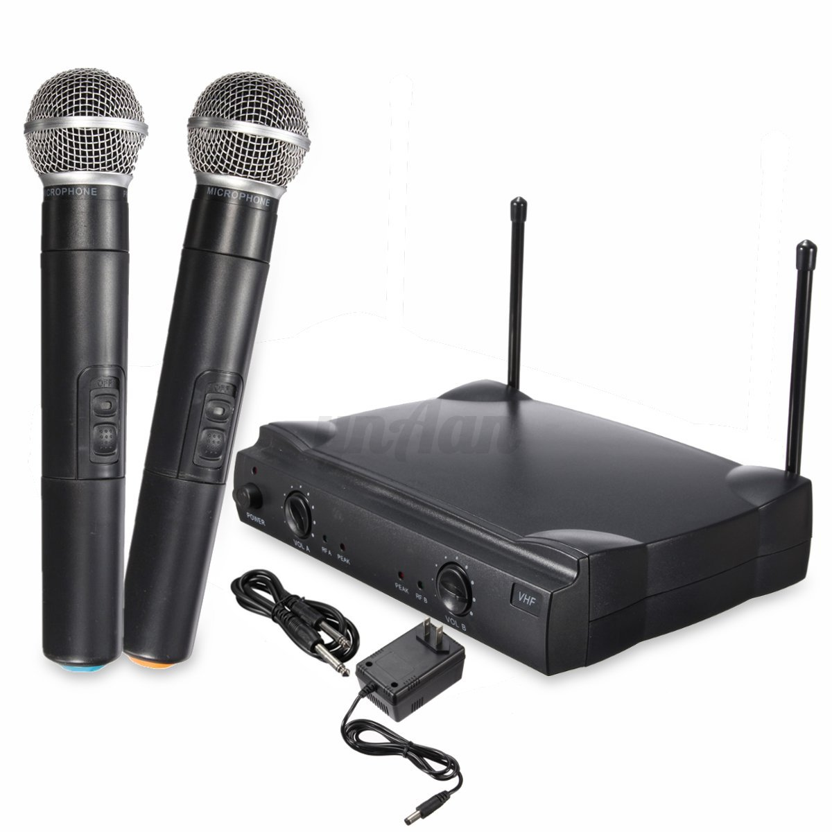 wireless dual channel vhf professional handheld microphone system 2 mic receiver ebay. Black Bedroom Furniture Sets. Home Design Ideas