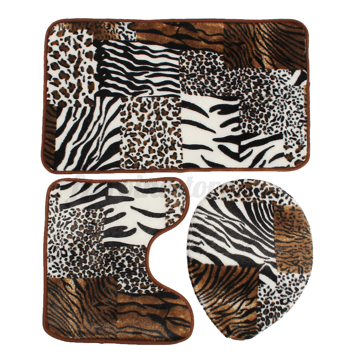 3 Pc Zebra Leopard Print Toilet Cover Set Bathroom Mat Rug