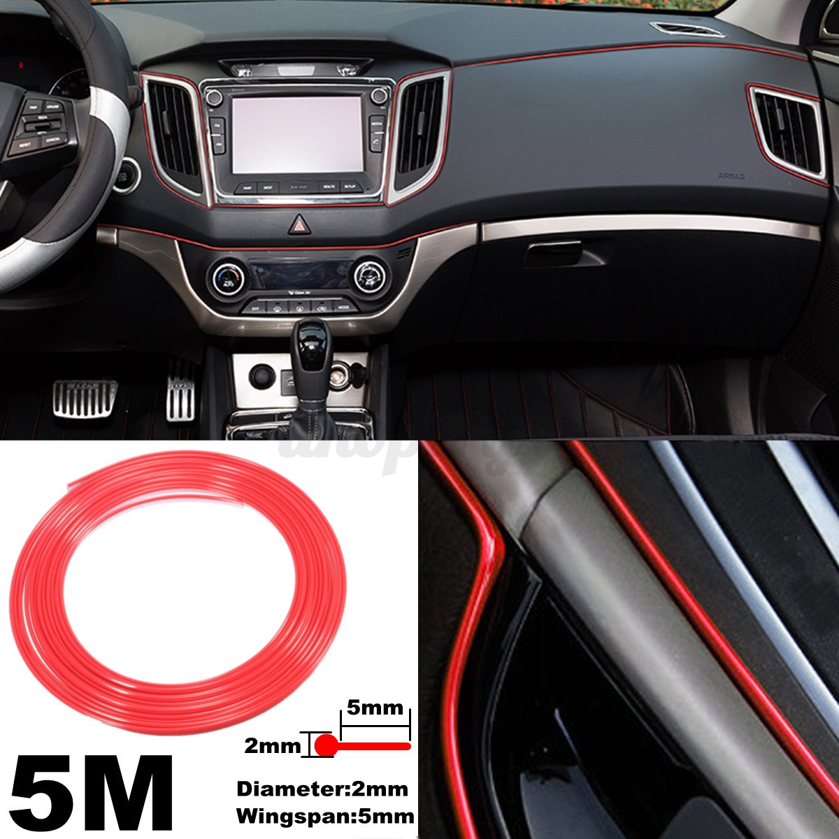 5m car interior edge moulding strip decorative red line door ornament trim strip ebay. Black Bedroom Furniture Sets. Home Design Ideas