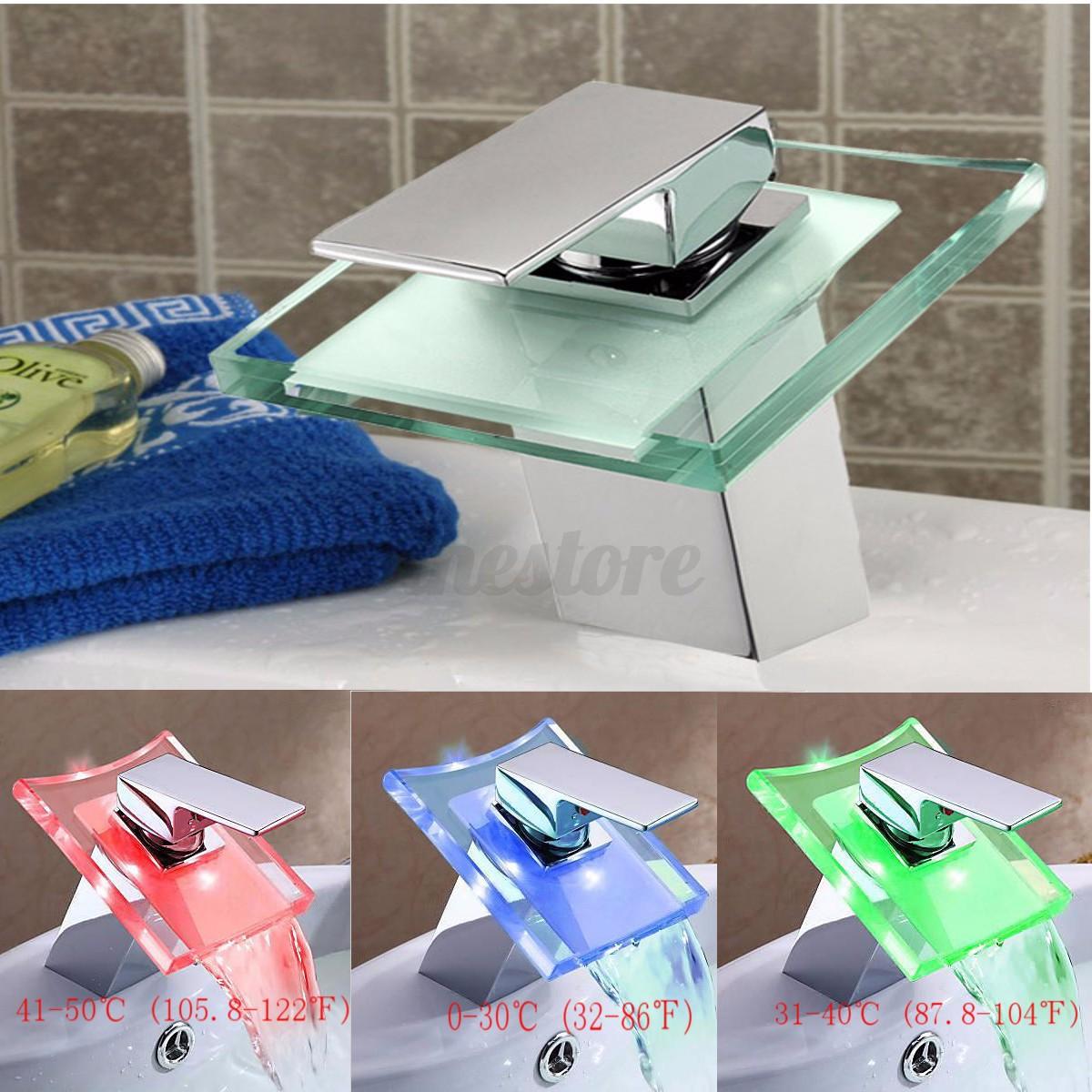 Auralum grifo de lavabo grifo moderno cascada ba o led rgb for Grifo en cascada