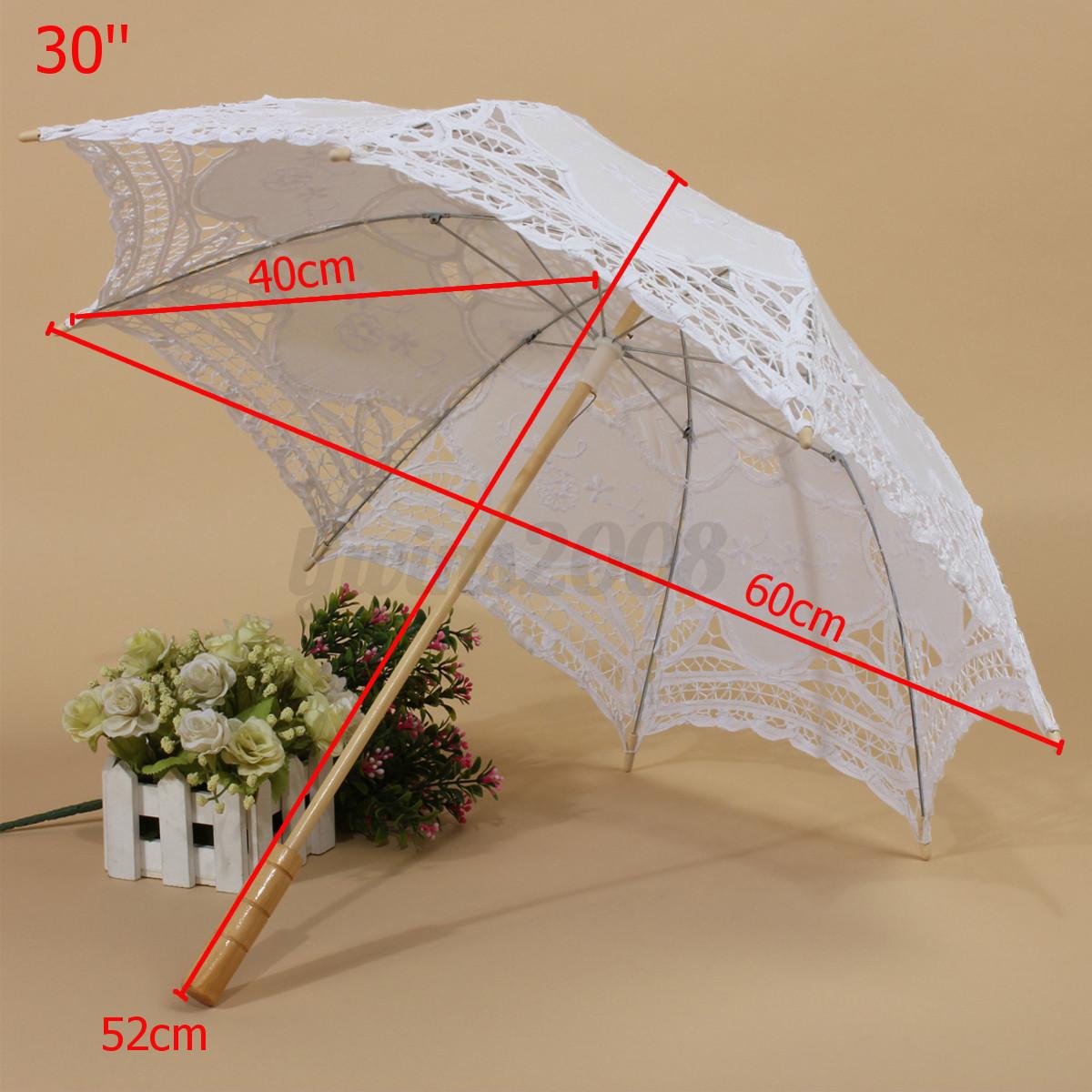Spitze Sonnenschirm Retro Handgemachte Braut Schirme Handfächer Hochzeit Set