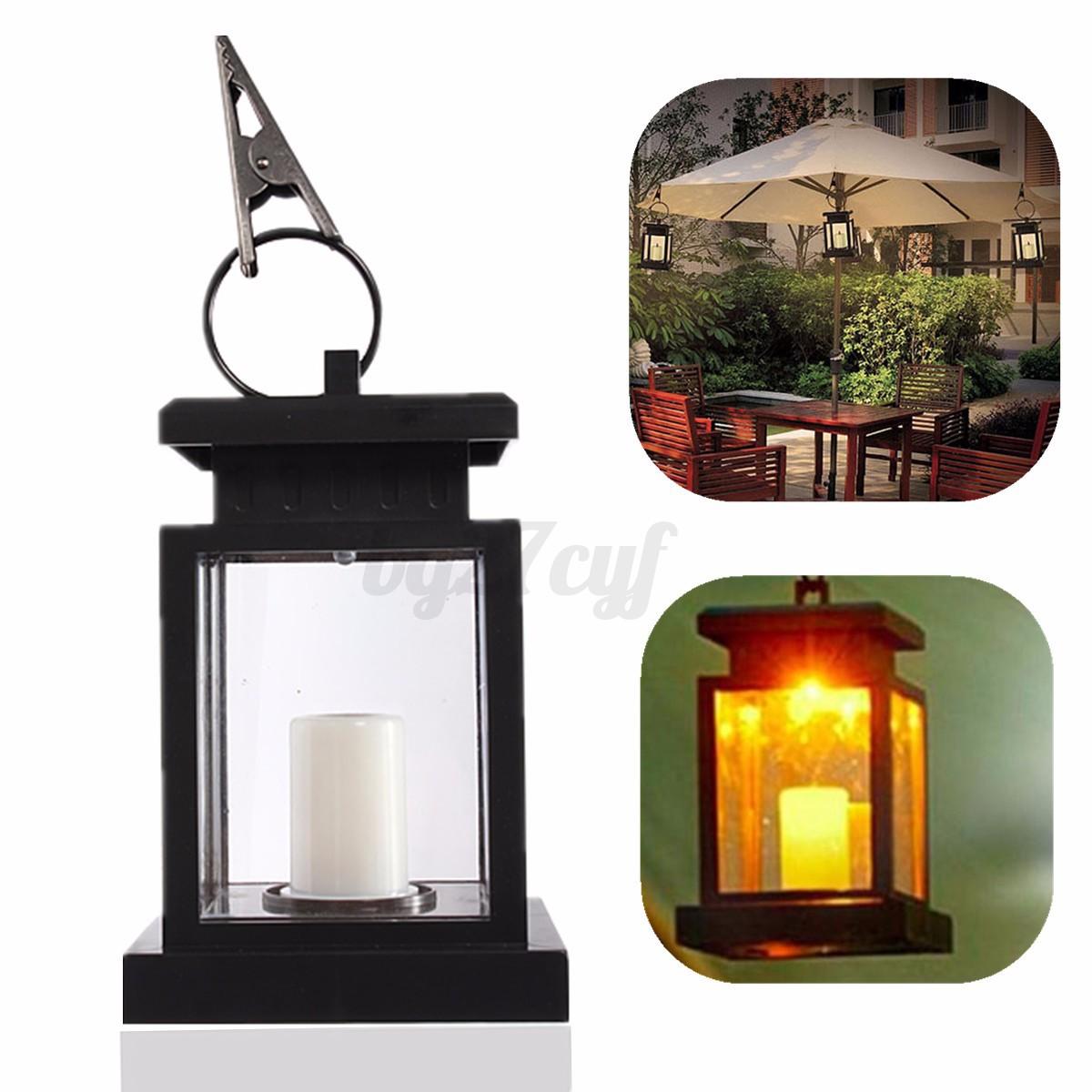 Garden Candle Wall Lights : Solar Powered Outdoor Garden Candle Light Lantern Yard Wall Landscape Lamp Clip eBay