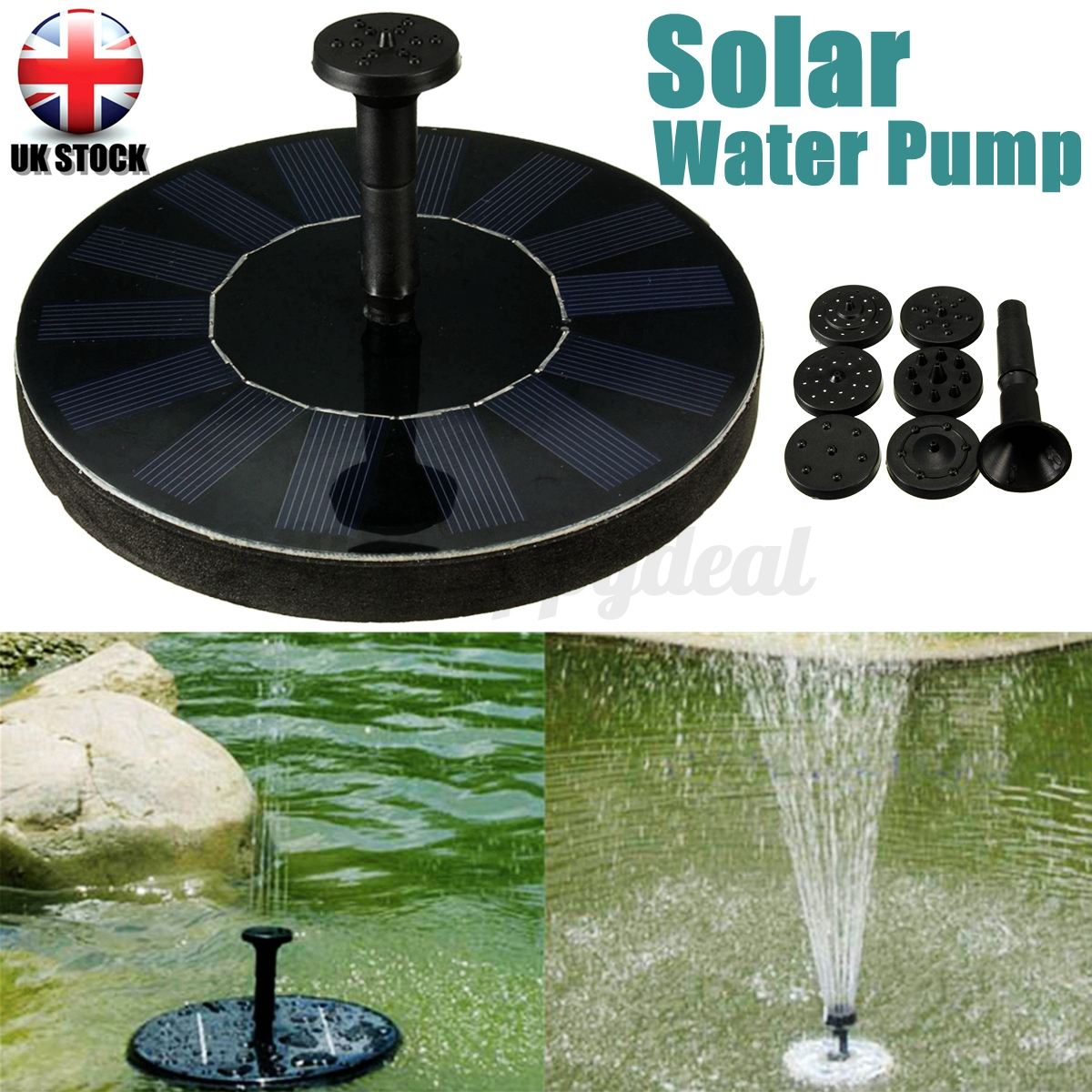 Garden pool pond solar panel powered submersible floating for Solar pond pump