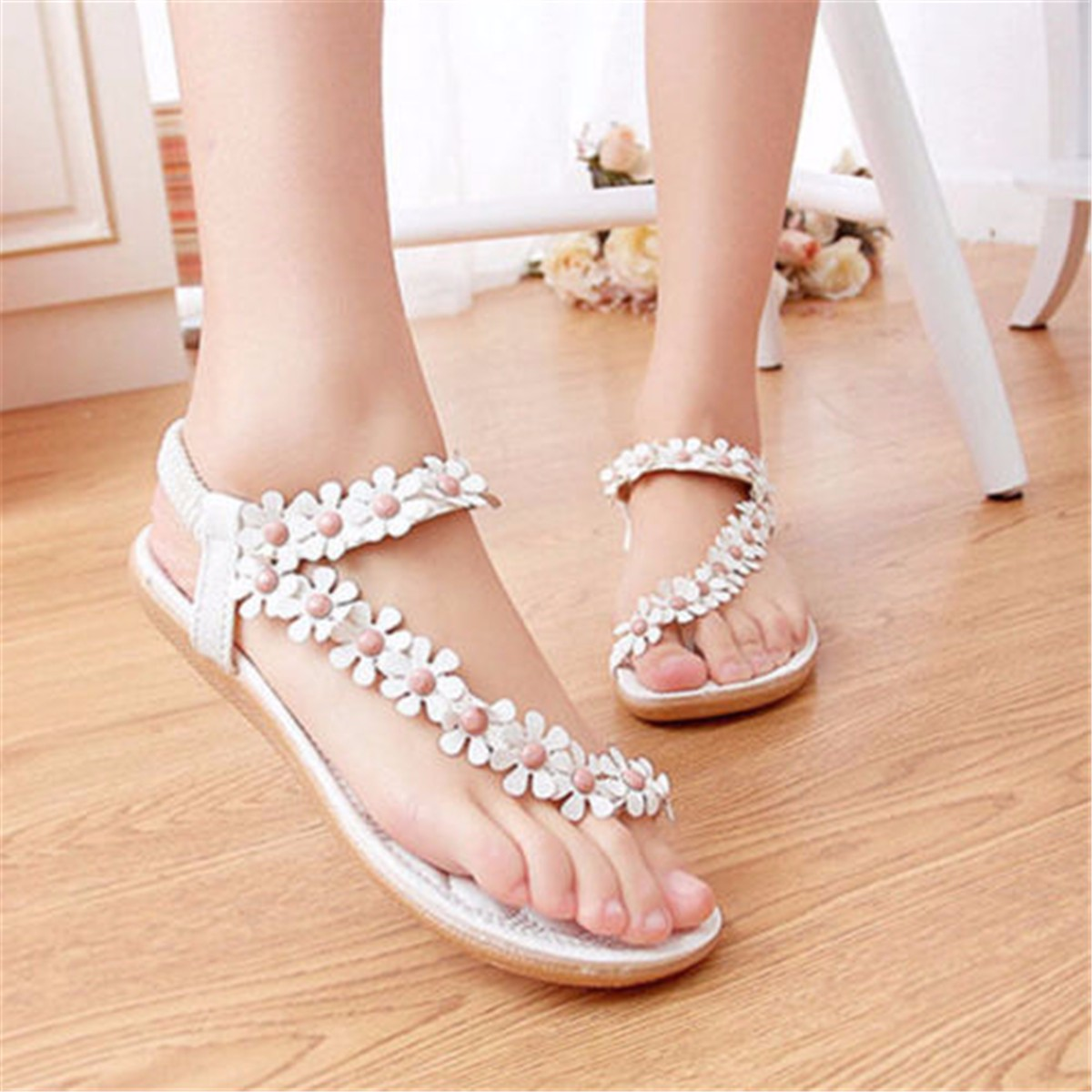damenschuhe sandalen sandaletten riemchen flach strand sommer schuhe mit blumen ebay. Black Bedroom Furniture Sets. Home Design Ideas