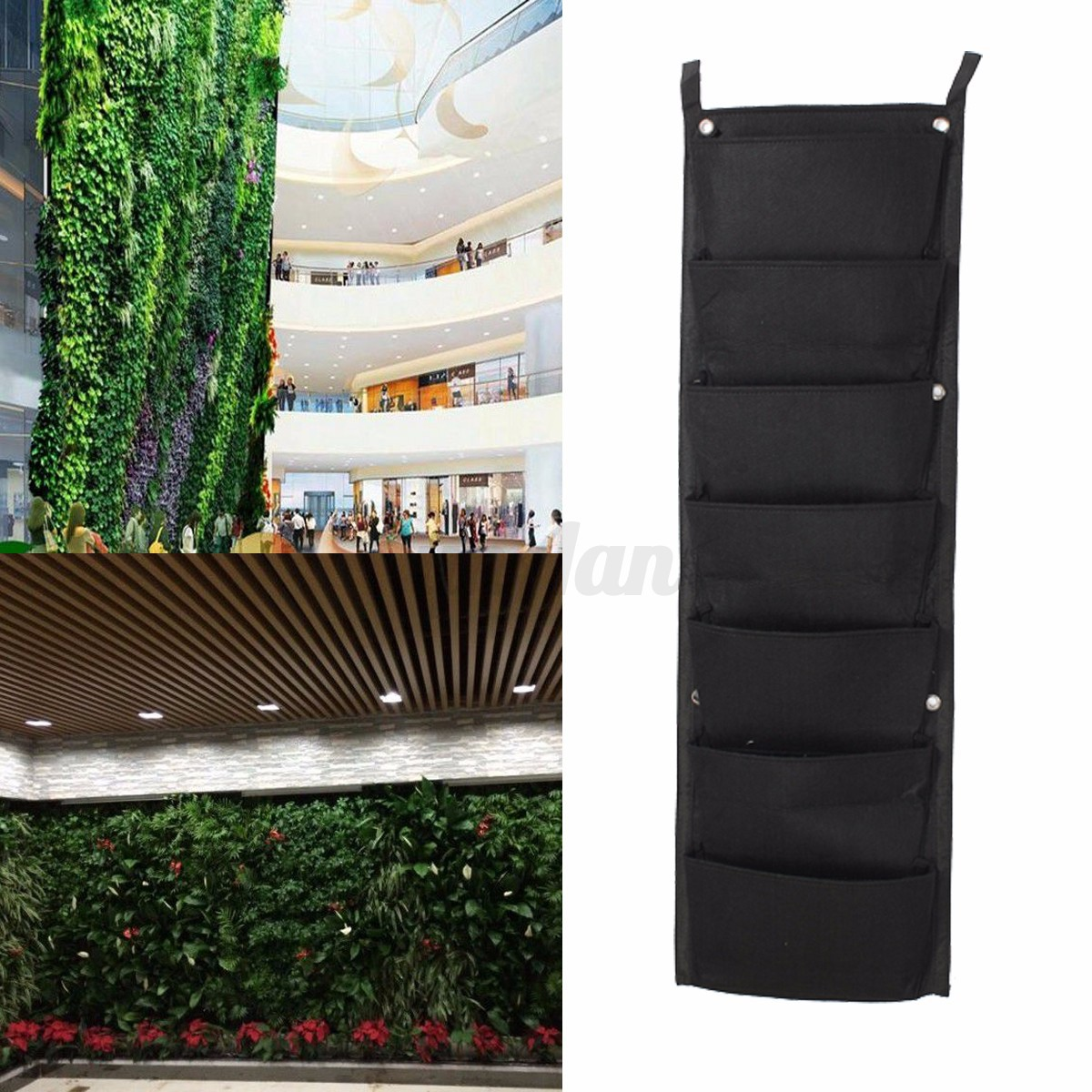 7 pocket indoor outdoor balcony herb vertical garden wall for Balcony vertical garden