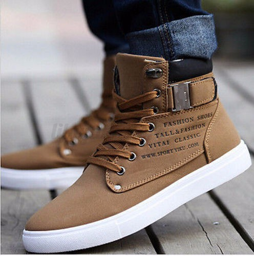 Fashion-Mens-Oxfords-Casual-High-Top-Shoes-Leather-Shoes-Canvas-Sneakers-New