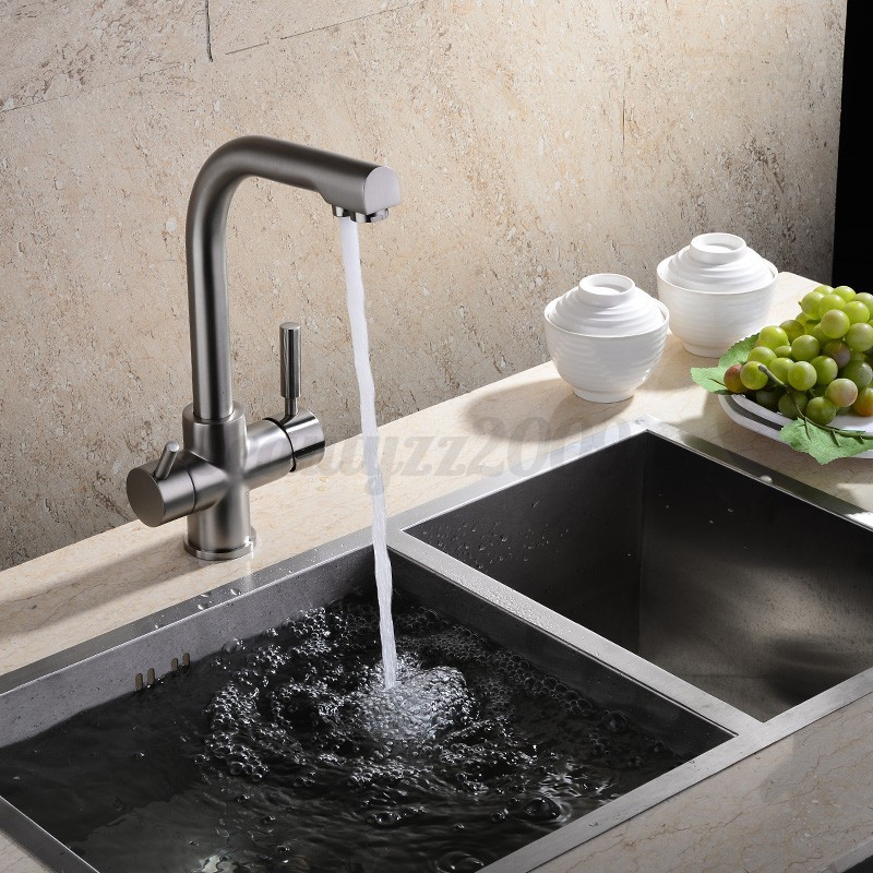 3 Way Dual Handles Kitchen Sink Faucet Pure Water Filter Mixer Tap Chrome Bra