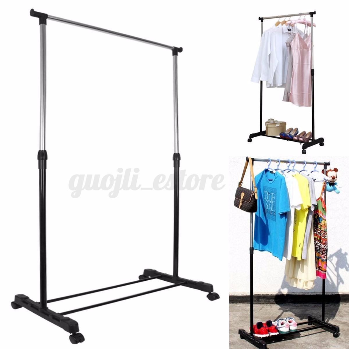 adjustable portable heavy duty garment rack clothes stand hanger mobile on wheel ebay. Black Bedroom Furniture Sets. Home Design Ideas