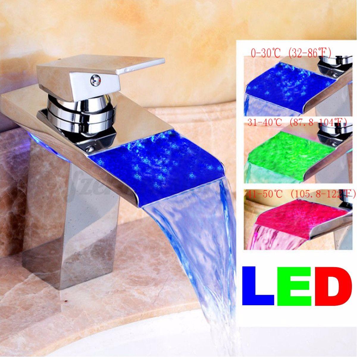 Auralum grifo de lavabo grifo moderno cascada ba o led rgb - Grifos modernos bano ...
