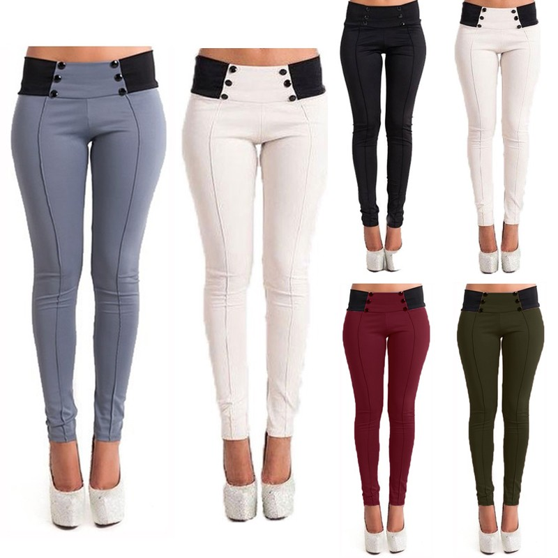 Womens High Waisted Skinny Pants Ladies Slim Stretch Tights Front Pocket Trouser