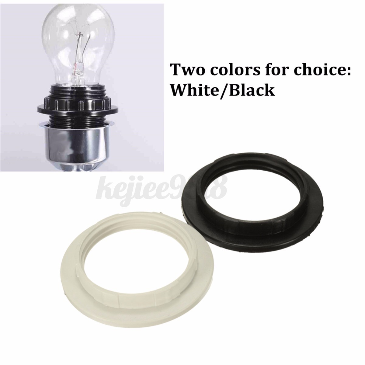 Black/White E27 Screw Lampshade Light Shade Collar Ring Adaptor ... for Electric Bulb Holder  104xkb