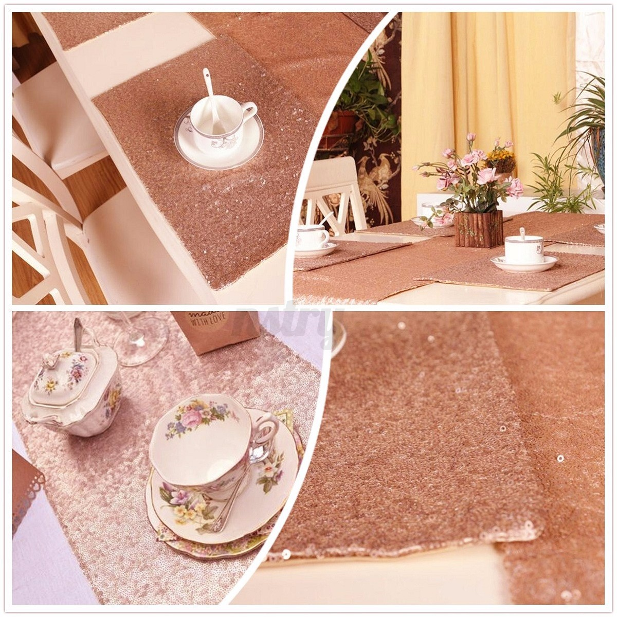 au 48 39 39 x72 39 39 sparkly sequin table fabric rose gold cloth wedding party backdrop ebay. Black Bedroom Furniture Sets. Home Design Ideas