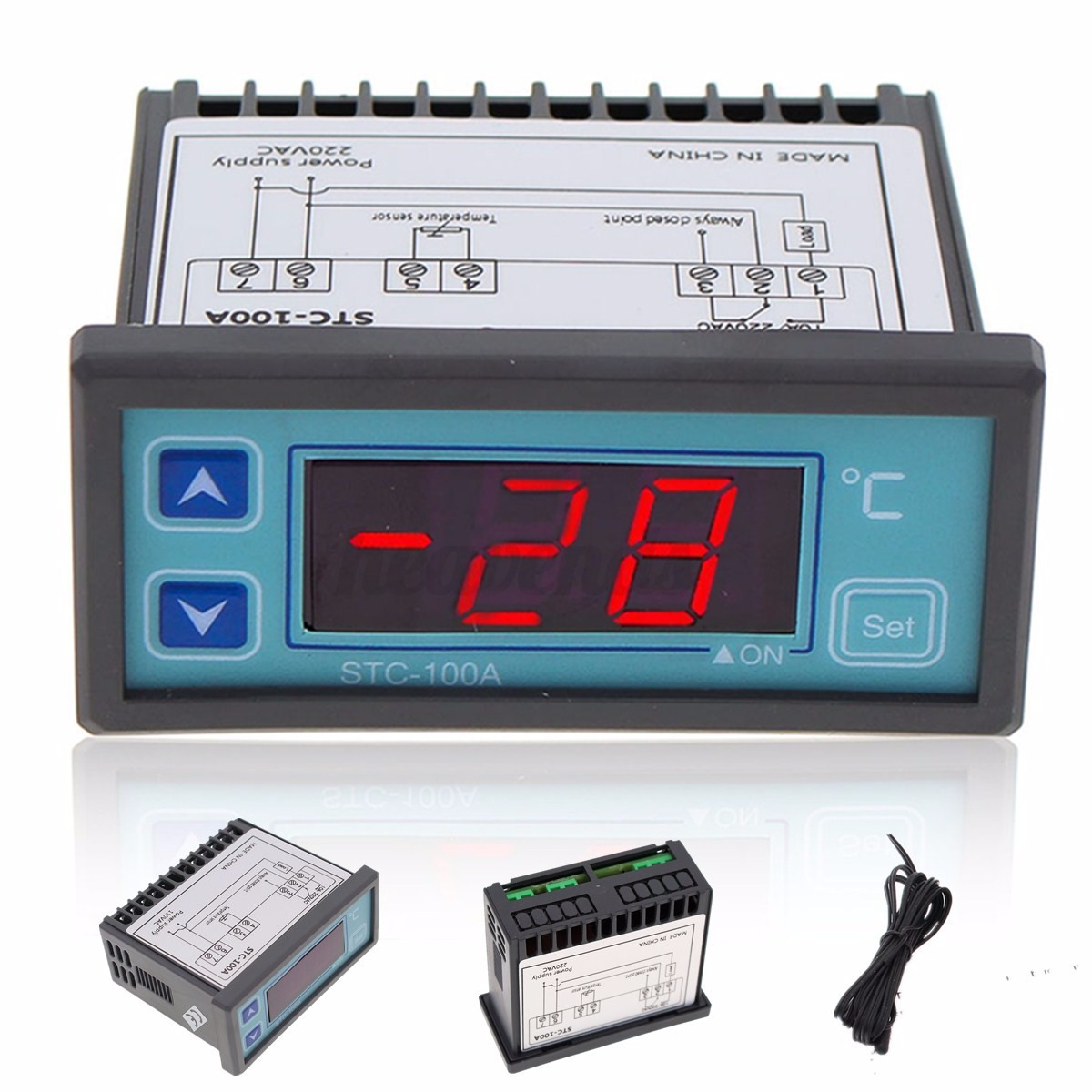 220V LED Digital Temperature Regler Thermostat Controller mit Sensor  #BF0C13
