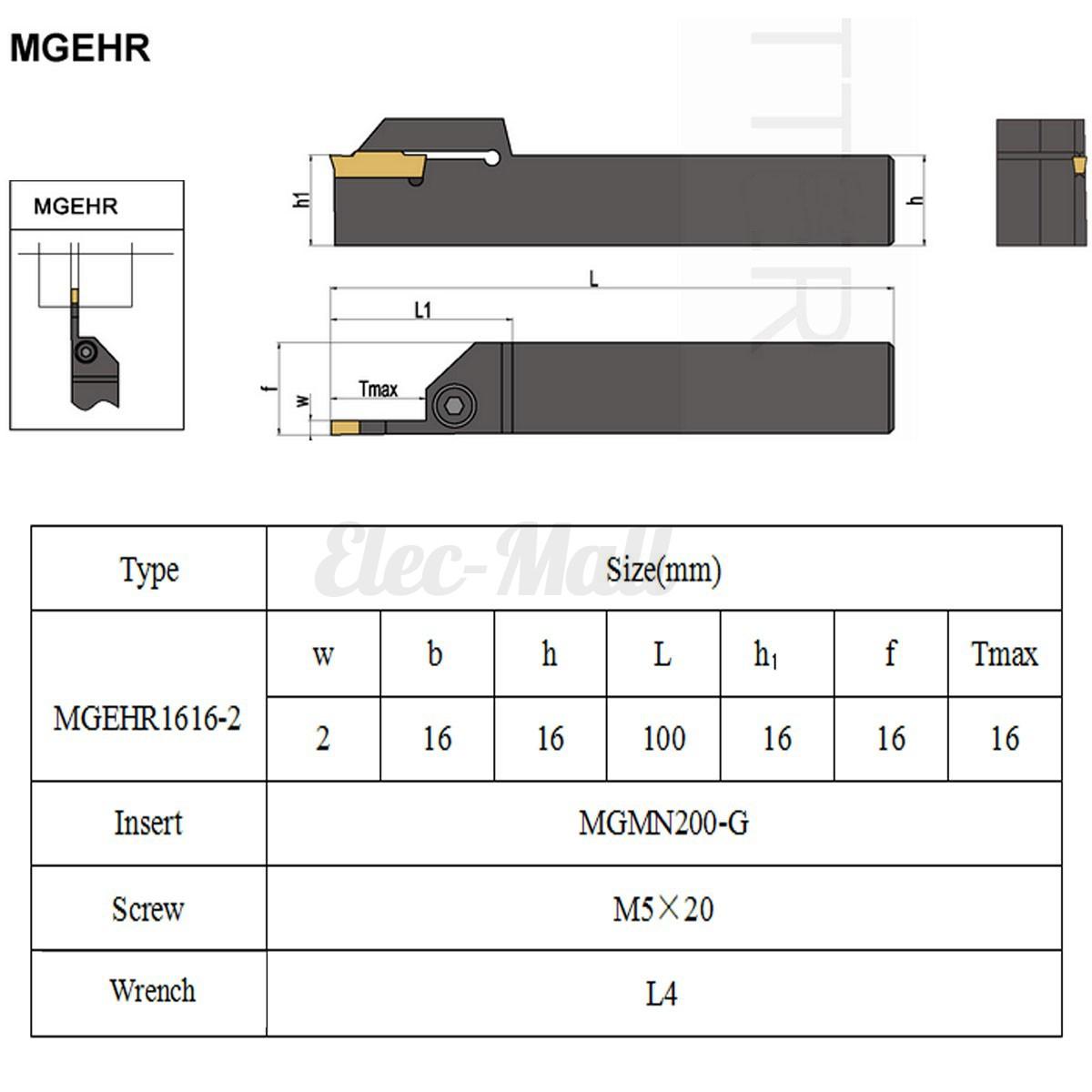 MGEHR1616-2 16x100mm CNC Lathe Turning Tool Holder 10PCS MGMN200 Inserts 2.0mm