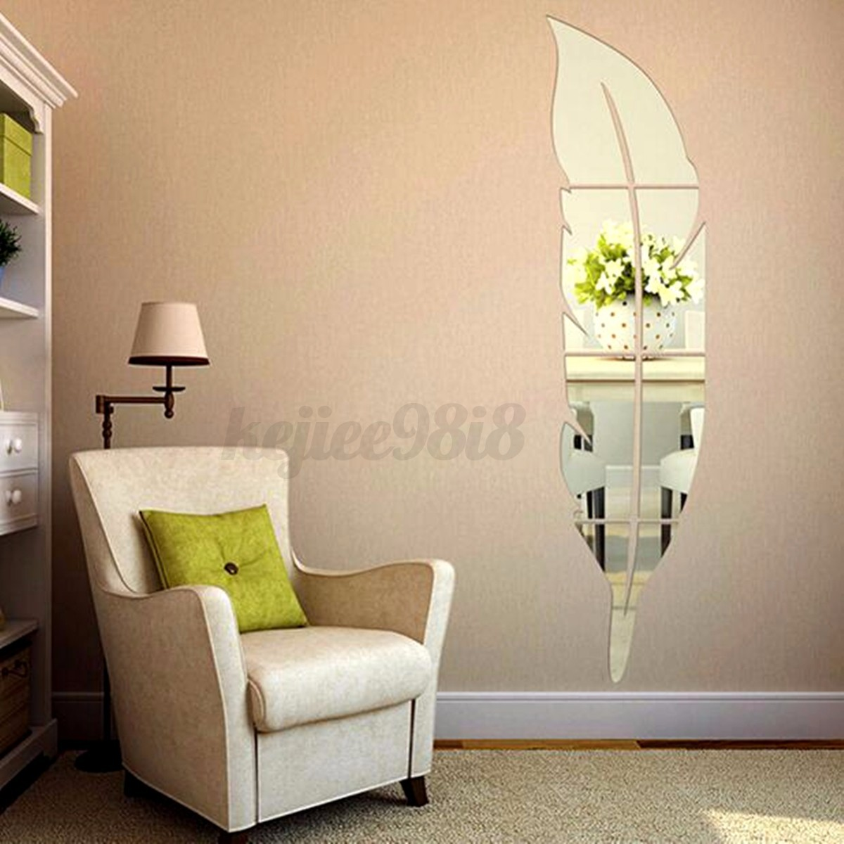 3d feather dressing mirror wall sticker home decal room. Black Bedroom Furniture Sets. Home Design Ideas