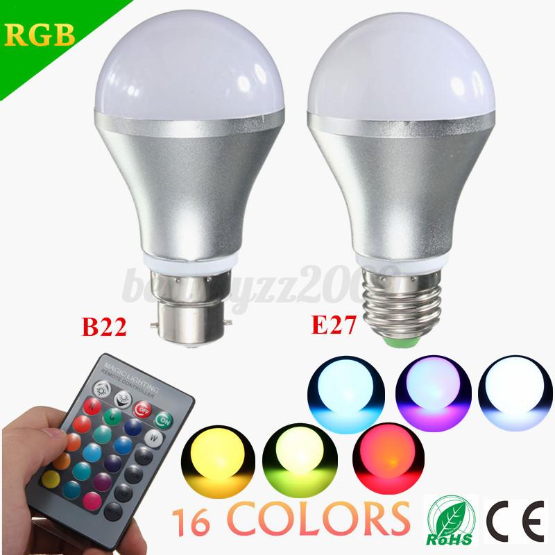 lampadina led rgb : 5W E27 B22 RGB LED di colore Cambiare lampada della lampadina 85-265V ...