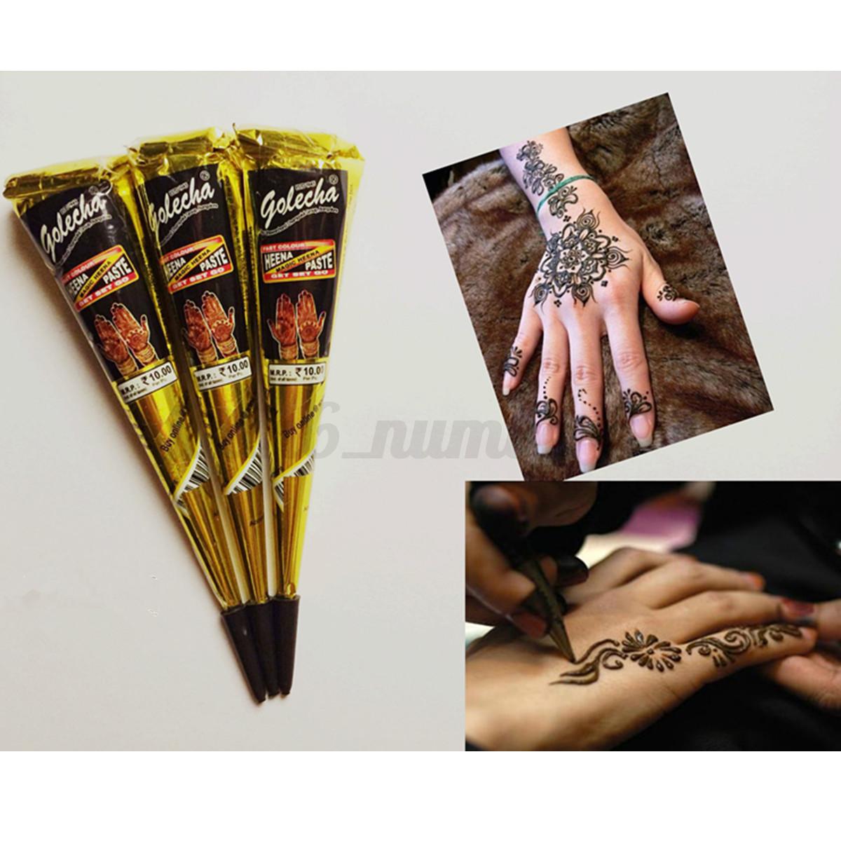 Perfect temporary tattoo kit herbal henna mehandi cone for Tattoo kit ebay