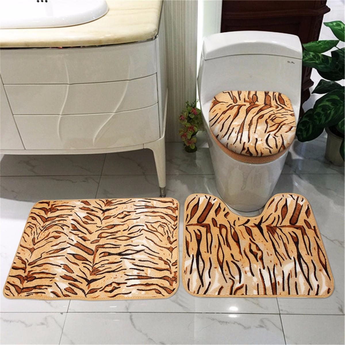Zebra Leopard Print Toilet Cover Set Bath Bathroom Mat Rug