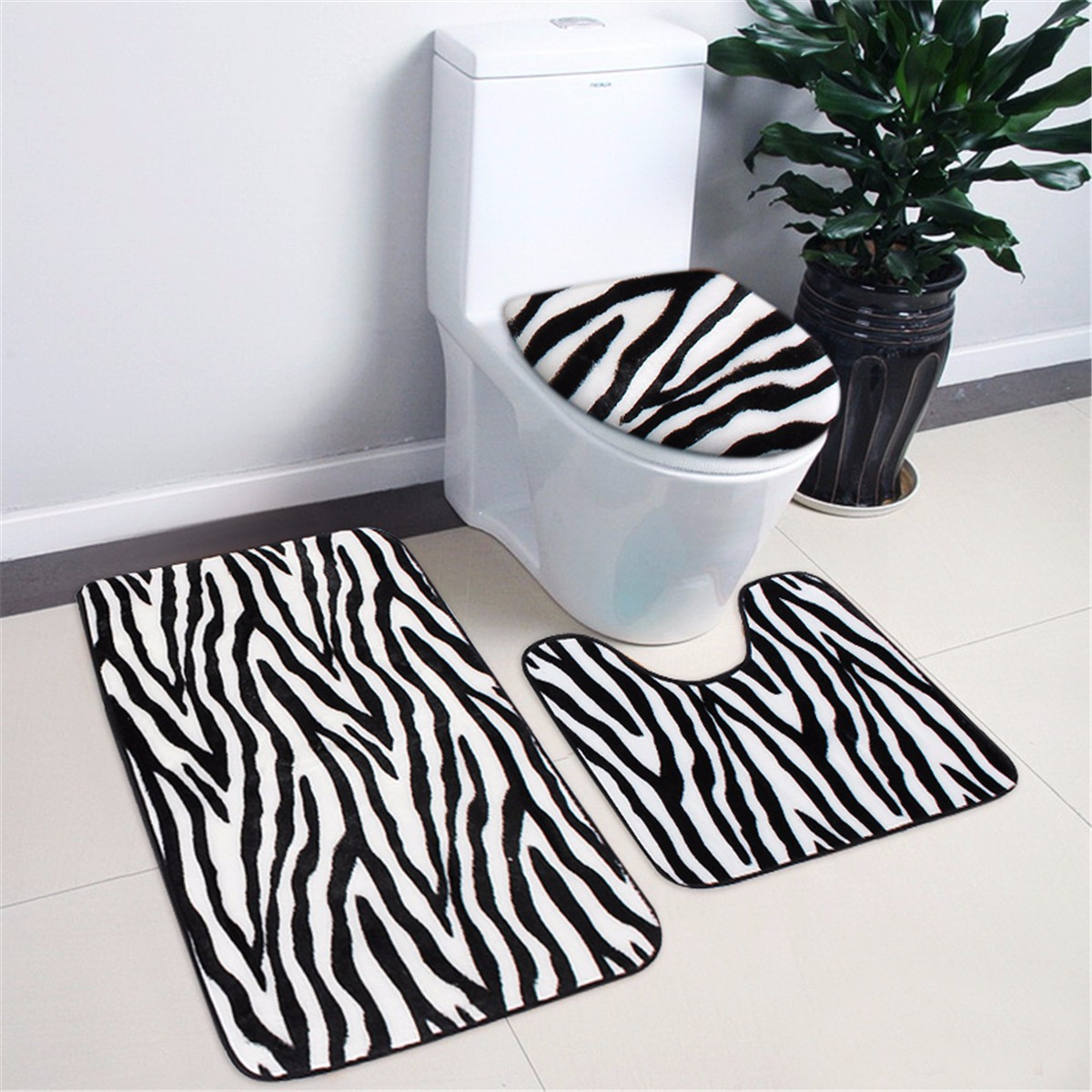 Zebra Leopard Print Toilet Cover Set Bath Bathroom Mat Rug