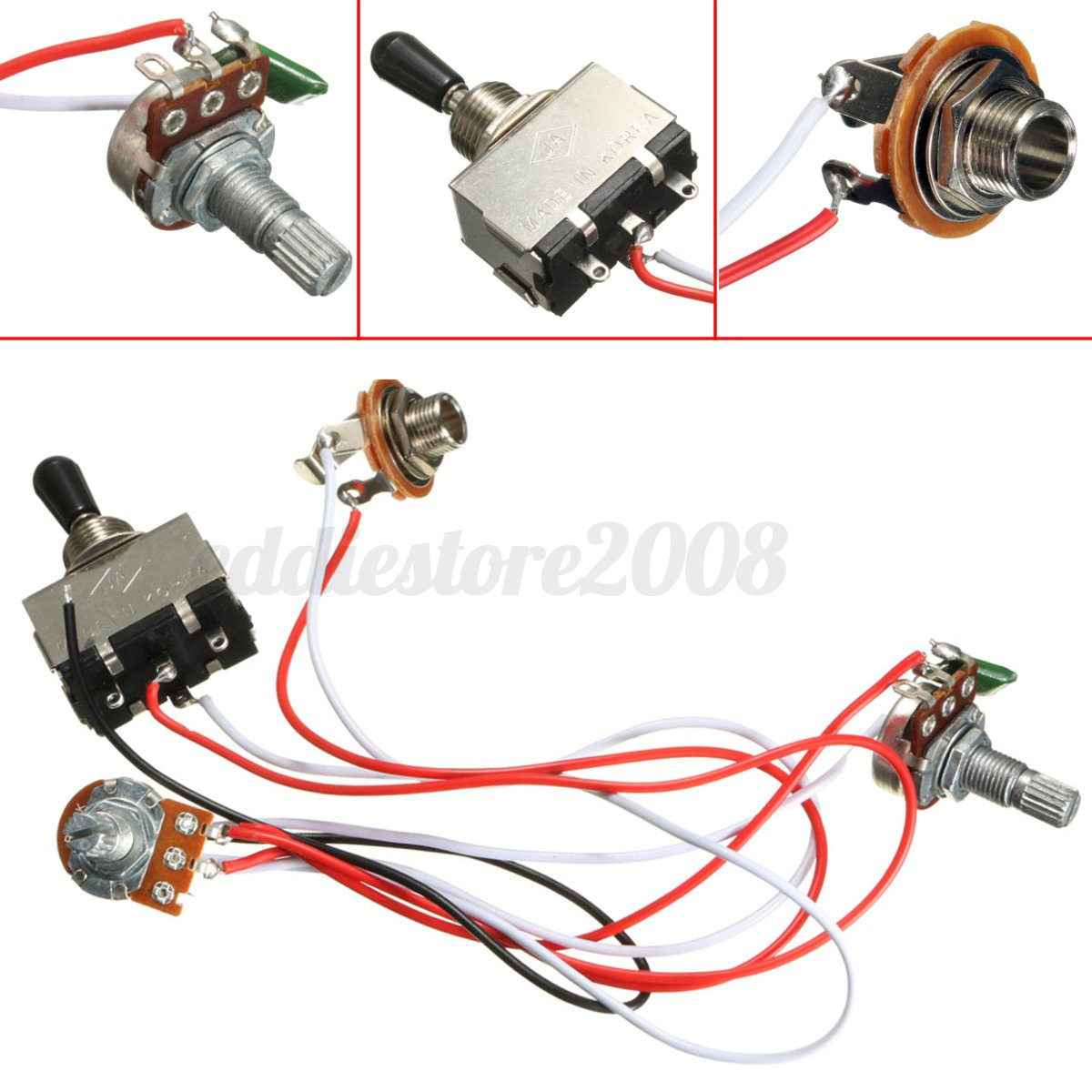 Electric Guitar 3 Way Toggle Switch Wiring Harness Kit 1 Volume Fender Stratocaster 5way Crl Cts Pots Tone 500k