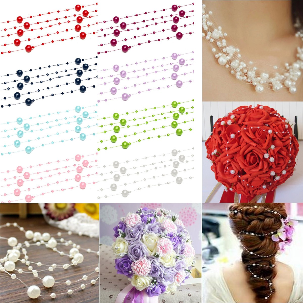 5/10x 1.3m Pearl Bead Garland Wedding Bouquet Decoration Table ...