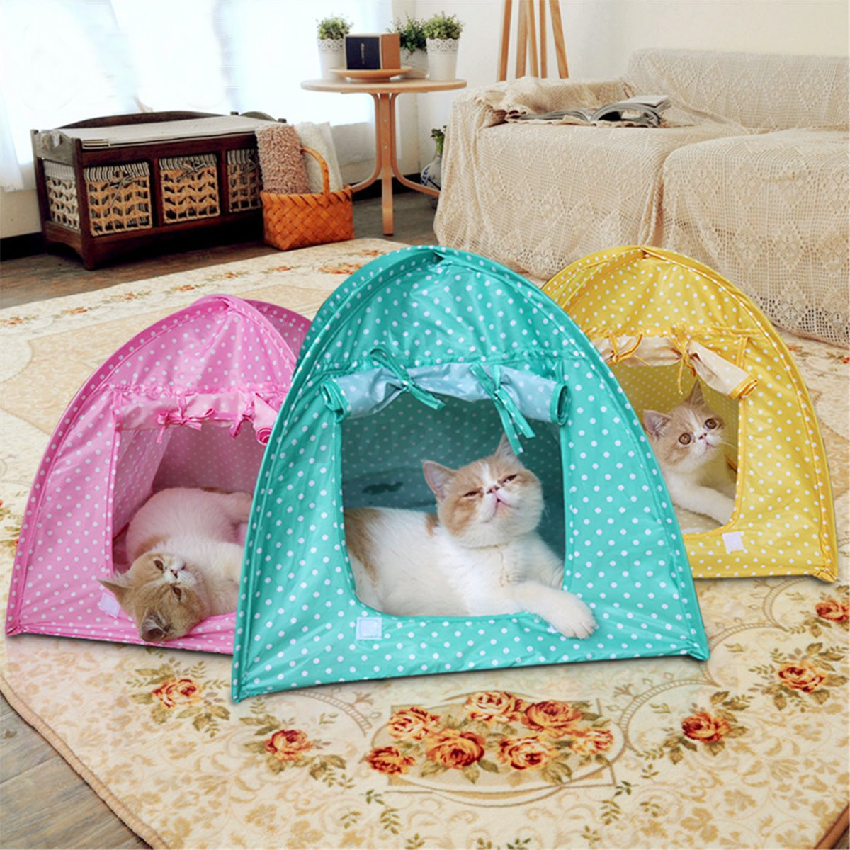 Foldable pet cat tent playing bed house kitty camp for Cat tent