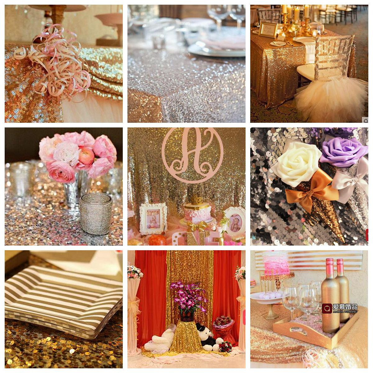 Rectangle wedding reception banquet table runner gold for Decoration maison rose gold