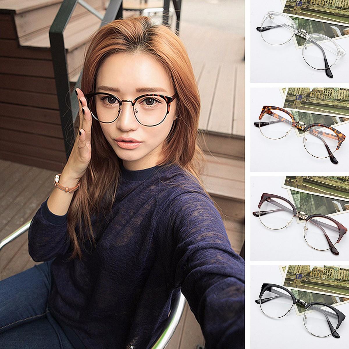 da0b0b648aad New Retro Style Women Men Round Nerd Clear Lens Eyewear Metal Frame ...