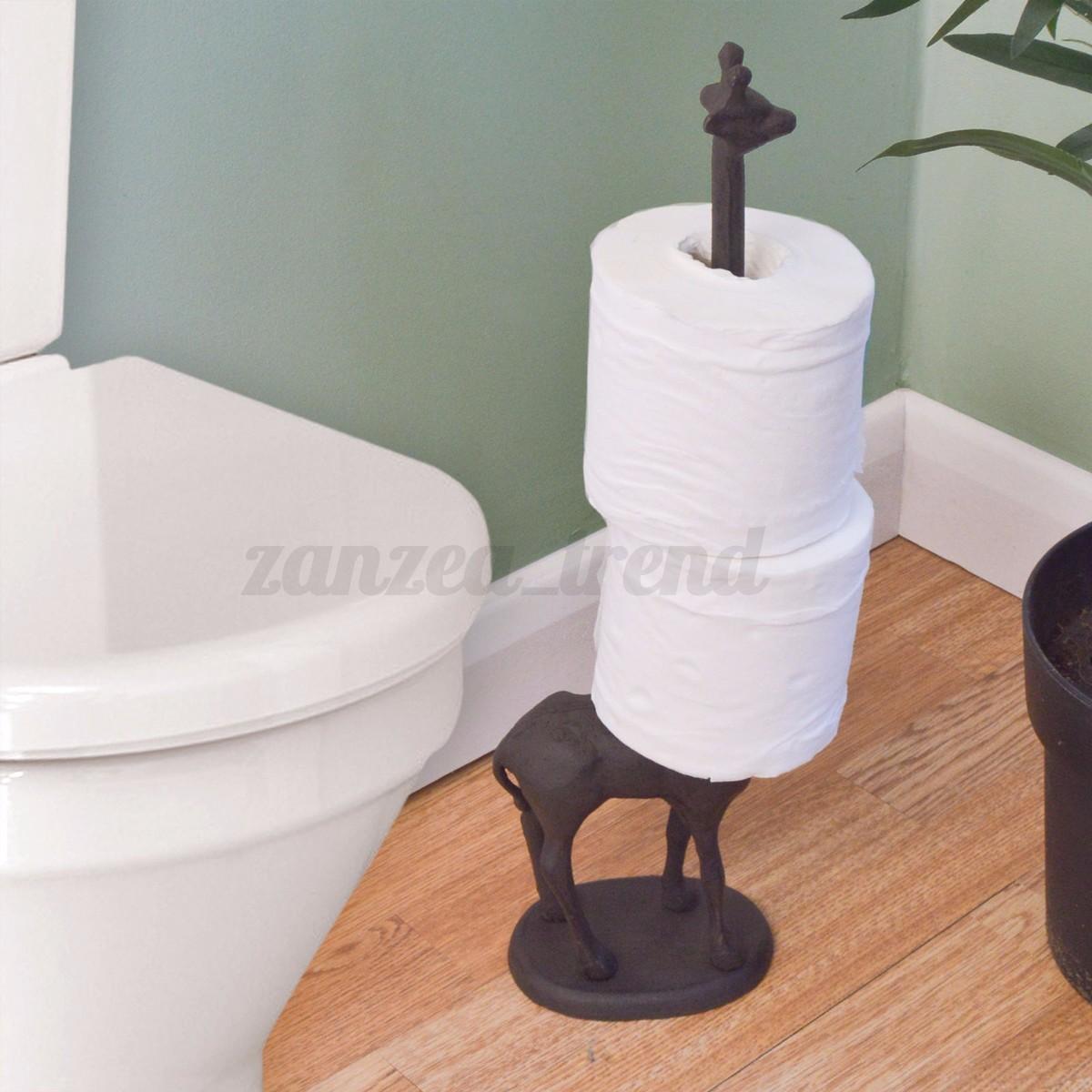 Standing Metal Giraffe Toilet Paper Tissue Dispenser