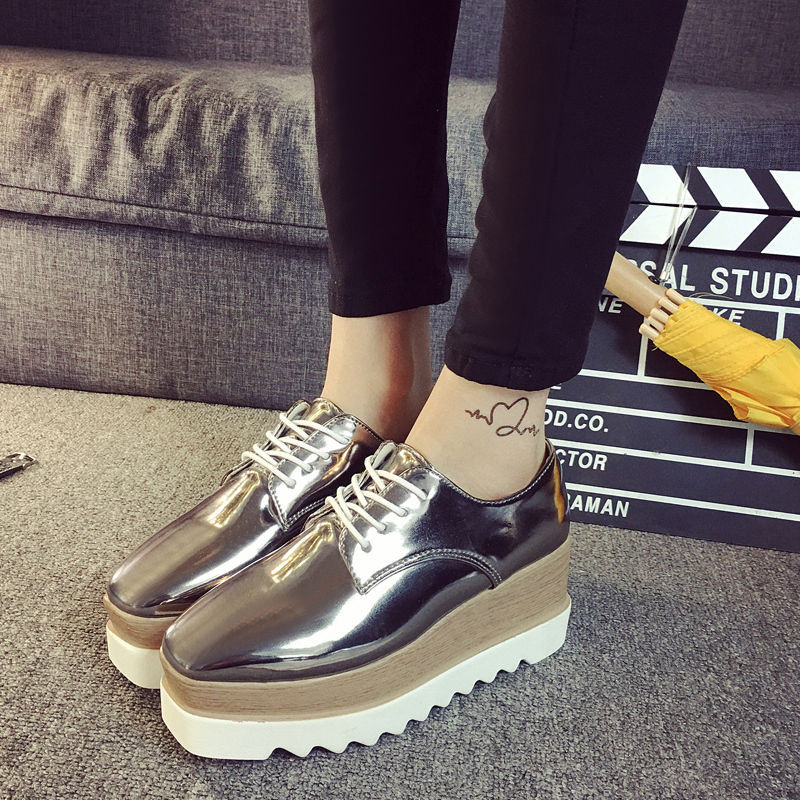 979785d5772 New Fashion Women s Shiny Lace Up Flats Double Platform Creepers Shoes  Oxfords